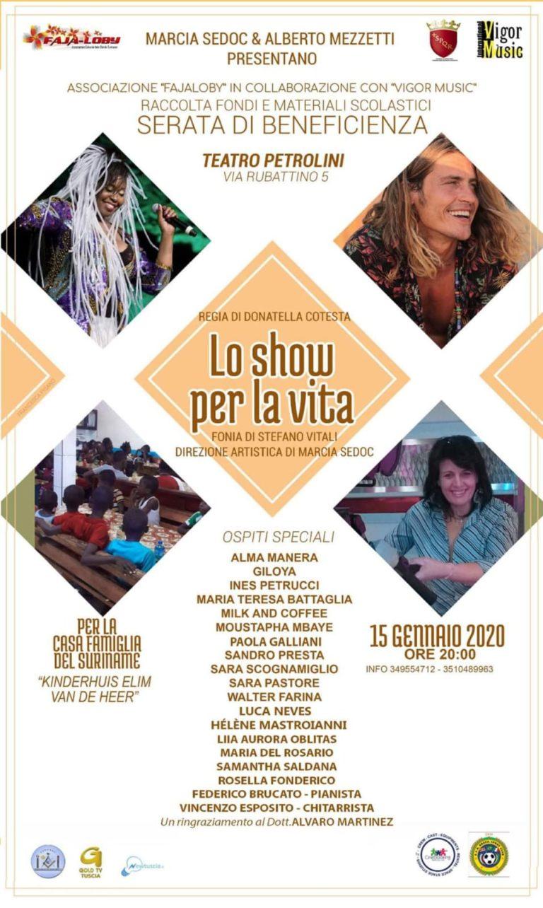 Lo Show per la Vita di Maria Sedoc e Alberto Mezzetti in scena con tanti ospiti Mercoledì 15 Gennaio al Teatro Petrolini